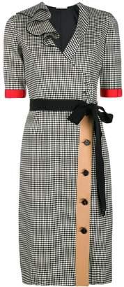 Marco De Vincenzo check belted midi dress