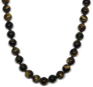 Sterling Silver 8mm Tiger-Eye Bead Necklace