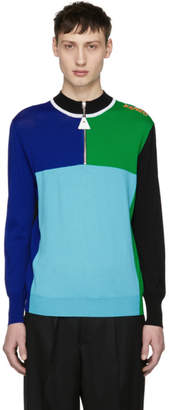 Kenzo Blue and Green Colorblock Zip Sweater