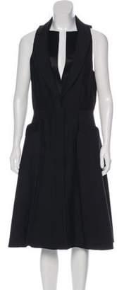 Alexander McQueen Wool Midi Dress Black Wool Midi Dress
