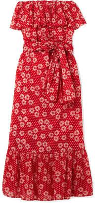 Lisa Marie Fernandez Sabine Strapless Printed Cotton-voile Maxi Dress - Red