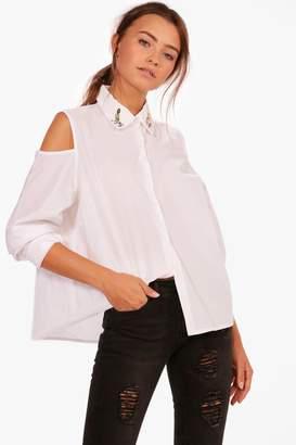 boohoo Embellished Collar Cold Shoulder Shirt