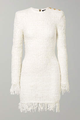b01a6a9141b904 Balmain Button-embellished Fringed Metallic Tweed Mini Dress - White