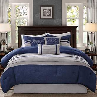 Madison Park - Palmer 7 Piece Comforter Set - Navy Blue and Gray - Queen - Pieced Microsuede - Includes 1 Comforter
