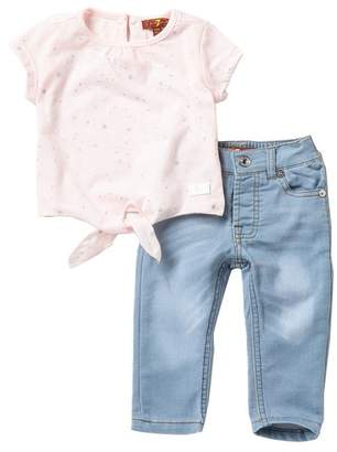 7 For All Mankind Tie Front Tee & Knit Denim Jeans Set (Baby Girls)