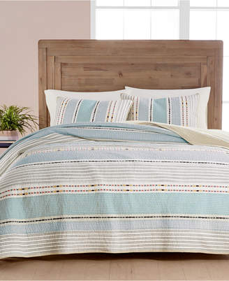 Martha Stewart Collection Cotton Earth-Tone Stripe Twin Quilt, Created for Macy's