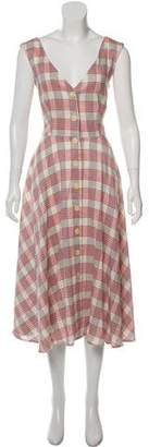 Veronica Beard Sleeveless Plaid Midi Dress