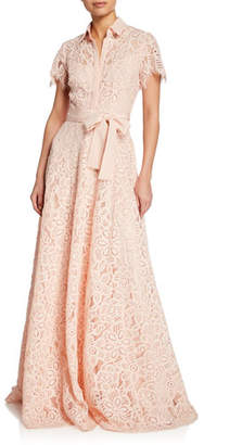 Lela Rose Lace Flutter-Sleeve Shirt Gown
