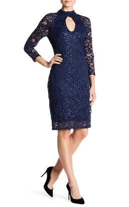 Marina Crochet Lace Embellished Keyhole Dress