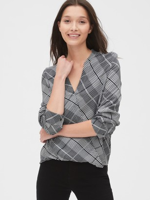 Gap Plaid Faux-Wrap Blouse