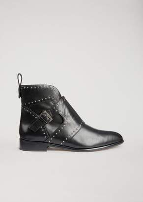Emporio Armani Leather Ankle Boot With Buckle And Stud Detailing