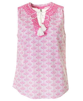 Joules Sleeveless Embroidered Top Colour: PINK, Size: 8