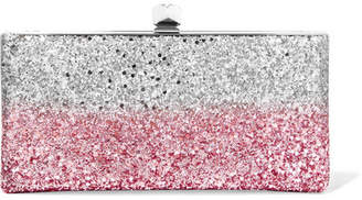 Jimmy Choo Celeste Two-tone Glittered Canvas Clutch - Pink