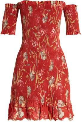 Zimmermann Corsair Iris shirred linen and cotton-blend dress
