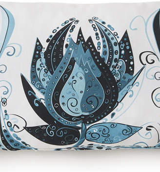 Colcha Linens Tropical Bloom Long Rectangle Cushion - White Background, Blue Print Bedding