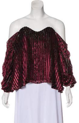 Caroline Constas Off-The-Shoulder Velvet Top