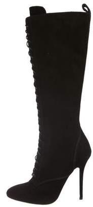 Balmain Lace-Up Knee-High Boots