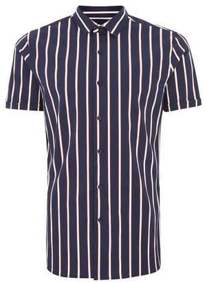 Topman Mens Navy Stripe Muscle Short Sleeve Shirt