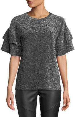 MICHAEL Michael Kors Ruffled-Sleeve Metallic Top