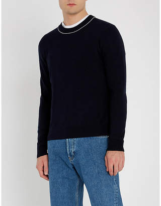 Sandro Pinstriped-trimmed wool-and-cashmere blend jumper
