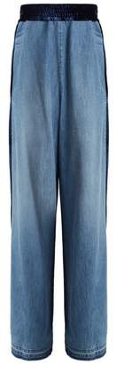 Golden Goose Deluxe Brand - Sophie Contrast Panel High Rise Cotton Trousers - Womens - Denim