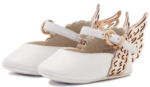 Sophia Webster Evangeline Leather Butterfly-Wing Flat, White, Infant Sizes 0-12 Months