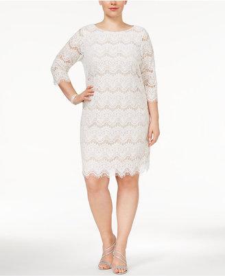 Jessica Howard Plus Size Lace Illusion Sheath Dress $99 thestylecure.com
