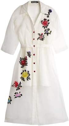 House of Holland Floral-embroidered silk shirtdress
