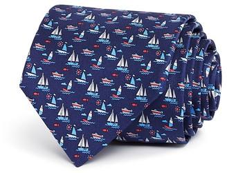Salvatore Ferragamo Medium Sailboats Neat Print Classic Tie $190 thestylecure.com