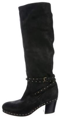 Miu Miu Studded Knee-High Boots Black Studded Knee-High Boots