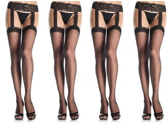 42e40014466d2 Leg Avenue Women's Plus Size Sheer Thigh High Stockings Lace Garter Belt,  Black, Plus