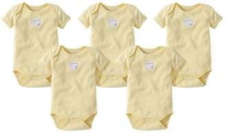 Burt's Bees Baby Organic Solid Short Sleeve Bodysuits, 3M, Sunshine, 5 Ct