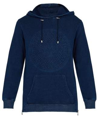 Balmain Logo Embossed Cotton Hooded Sweatshirt - Mens - Blue