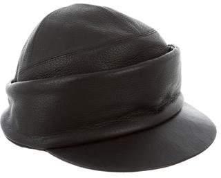Hermes Leather Brimmed Hat