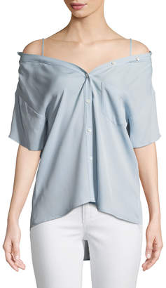 Theory Tamalee Off-the-Shoulder Button-Down Top