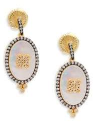 Freida Rothman Mother-of-Pearl, Pavé Crystal & Sterling Silver Clover Earrings