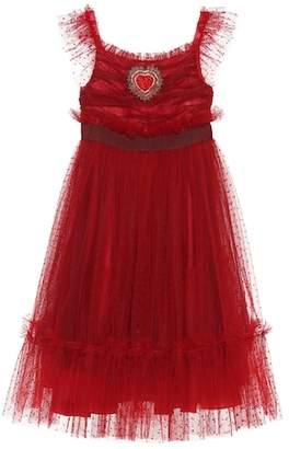 Dolce & Gabbana Embellished Swiss dot tulle dress