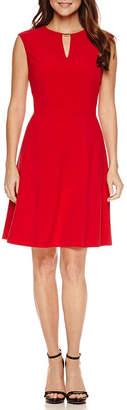 N. CHELSEA ROSE Chelsea Rose Sleeveless Bar Neck Fit Flare Dress