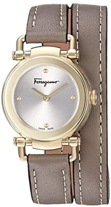 Salvatore Ferragamo Women's 'GANCINO Casual' Quartz Gold-Tone and Leather Watch