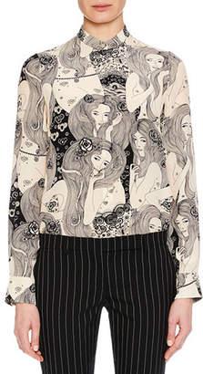Alexander McQueen Eve-Print Long-Sleeve Crepe de Chine Blouse