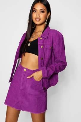 boohoo Cord Purple Denim Mini Skirt