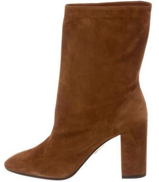 Aquazzura Boogie Leather Ankle Booties Brown Boogie Leather Ankle Booties