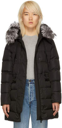Moncler Black Down and Fur Aphrotiti Jacket