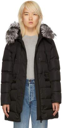 Moncler Black Down and Fur Aphrotiti Jacket