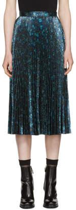 Prada Blue Lurex Jacquard Plisse Skirt