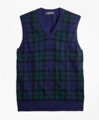 Brooks Brothers Cashmere Black Watch Plaid Vest