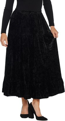 Linea By Louis Dell'olio by Louis Dell'Olio Crushed Velvet Pull-On Tier Skirt