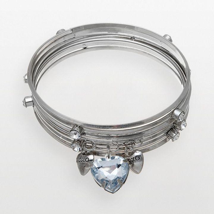 XOXO silver tone simulated crystal heart bangle bracelet set