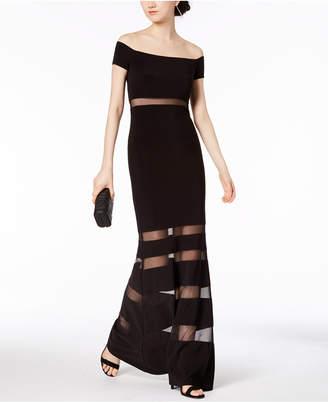 Xscape Evenings Off-The-Shoulder Illusion-Stripe Gown