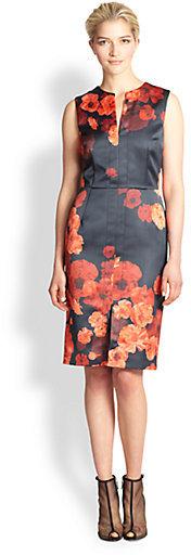 Giambattista Valli Floral-Print Satin Dress